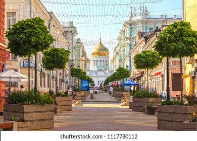 ROSTOV-ON-DON, RUSSIA - June 20, 2018:  ,Sights of the city of Rostov-on-Don, Sights of Rostov-on-Don, Soborny Street with a view of the Cathedral of the Nativity of the Blessed Virgin Mary, editorial