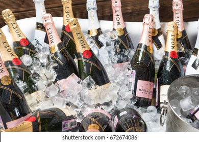 "ROSTOV-ON-DON, RUSSIA - JUNE 2017: The bath is filled with ice and champagne ""moet chandon"" . A splendid party. Higher Society."