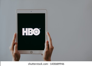 ROSTOV-ON-DON / RUSSIA - June 21 2019:   Home Box Office, hands holding iPad with screen of HBO logo