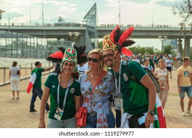 ROSTOV-ON-DON, RUSSIA - June 23, 2018: FIFA World Cup 2018 Host City Rostov-on-Don place Rostov Arena, football fans of Mexico in Russia, editorial