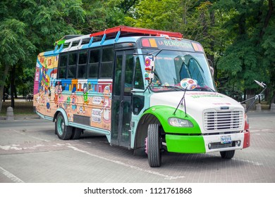 ROSTOV-ON-DON, RUSSIA - June 23, 2018: World Cup 2018 City-host Rostov-on-Don place Rostov-Arena, bus football fans from Mexico to Russia, editorial