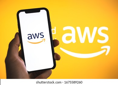 ROSTOV-ON-DON / RUSSIA - March 16 2020: Amazon Web Services logo on the smartphone screen