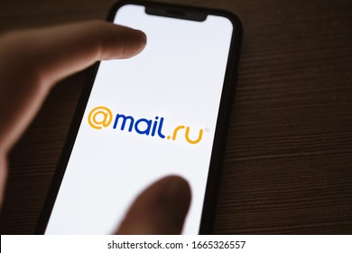 ROSTOV-ON-DON / RUSSIA - March 2 2020 :  Mail ru logo on the smartphone screen
