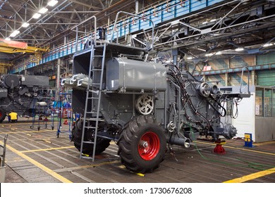 ROSTOV-ON-DON, RUSSIA - MARCH 2008: Factory for the production of agricultural machinery. Side view if unit in assembling process on line for the production of tractors, combines and machines