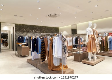 Rostov-on-Don, Russia - March 22, 2019: interior of the Manila Grace store in the Horizon shopping center in Rostov-on-Don. Manila Grace - a modern women's clothing store. Summer collection in 2019.