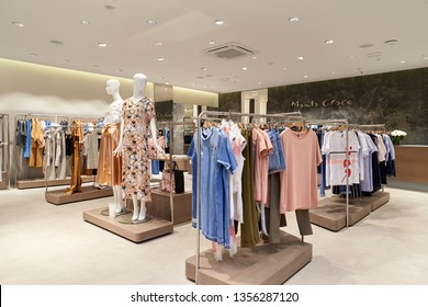 Rostov-on-Don, Russia - March 22, 2019: Opening of a new store Manila Grace in the shopping center Horizon in Rostov-on-Don. Manila Grace is a modern women's clothing store. Summer collection in 2019.
