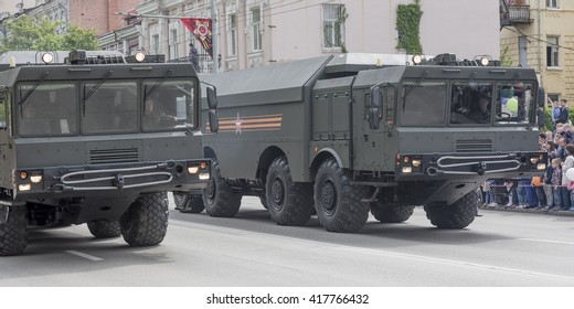 ROSTOV-ON-DON, RUSSIA- MAY 09- Military parade in honor of the 71 th anniversary of Victory in Great Patriotic War (the end) on May 09,2016 in Rostov-on-Don