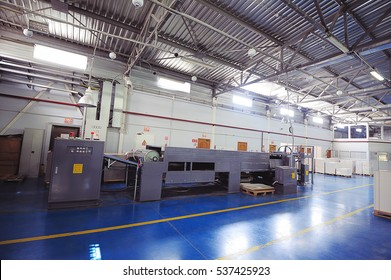 ROSTOV-ON-DON, RUSSIA, MAY 13, 2014. manufacturing printing and cutting packaging, presses and cutters