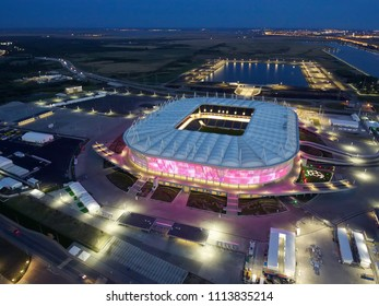 ROSTOV-ON-DON / RUSSIA MAY 19 2018: Aerial view of stadium Rostov Arena