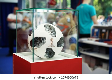 ROSTOV-ON-DON, RUSSIA - May, 2018. A soccer ball  match ball replica and TELSTAR emblem and ADIDAS logo of the World Cup FIFA 2018 mundial in the souvenir shop.