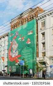 Rostov-on-Don / Russia - May 2018:A huge poster on an old building in the center of the city featuring a mascot of the World Cup and a schedule of games