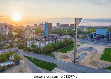 """ROSTOV-ON-DON, RUSSIA - MAY 2019: The memorial stele """"warriors-liberators of Rostov-on-Don from the Nazis"""".The Stele is decorated with sculpture the goddess of victory Nikee. Aerial view."""