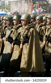 ROSTOV-ON-DON, RUSSIA - May, 29: The armed soldiers on parade in honor of a victory in WWII. soviet armies ammunition of world war II, May 29, 2008.