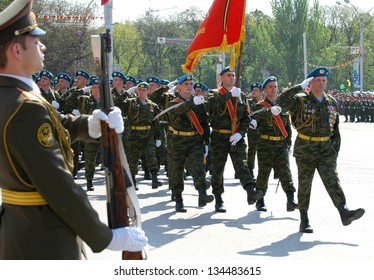 ROSTOV-ON-DON, RUSSIA - MAY 9: Celebration of the 61th anniversary of Victory Day (WWII) - soldiers marching at Theater Square, May 9, 2006 in Rostov-on-Don, Russia