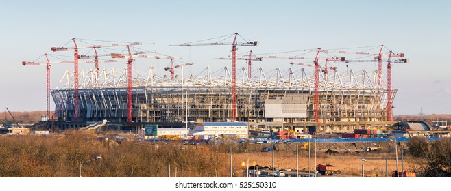 Rostov-on-Don, Russia - November 4, 2016: Construction of new football stadium for upcomming FIFA World Cup in 2018. Rostov-on-Don will be one of the host cities for the championship.