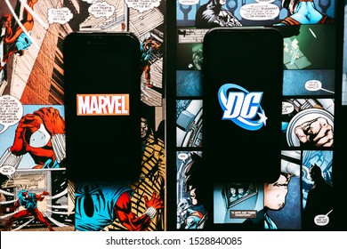 ROSTOV-ON-DON / RUSSIA - October 12 2019: Marvel and DC comics logo on the comics page background.