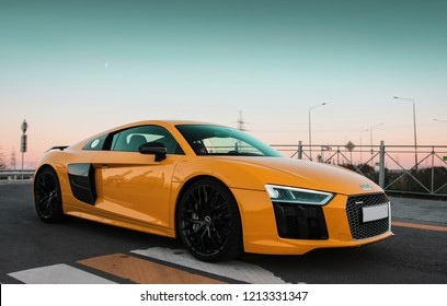 Rostov-on-Don, Russia - October 19, 2018. Yellow Audi R8