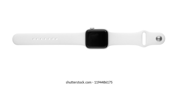 Rostov-on-Don, Russia - October 2018. Apple Watch Series 4 on white background. New smartwatch from APPLE company close up isolated on white background.