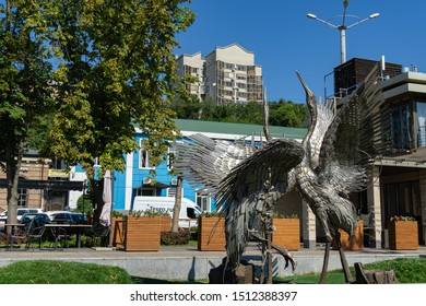 Rostov-on-Don, Russia – September 12, 2019: Metal statue of two dancing cranes on embankment of Rostov-on-Don.