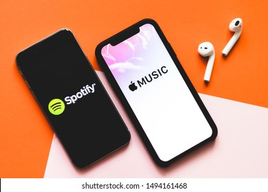 ROSTOV-ON-DON / RUSSIA - September 2 2019: Screen shot of Apple music app and Spotify. Apple Music and Spotify the most popular music streaming services
