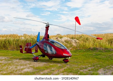 Rostov-on-Don, Russia - September 21, 2017. Autogyro Cavalon at the airfield.