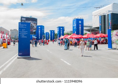 Rostov-on-Don, Russia-June 16,2018: Fan Zone in Rostov-on-Don for the World Cup 2018, located on the theater square of the city