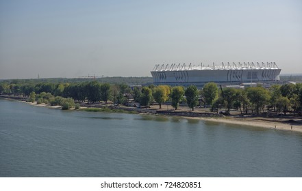 Rostov-on-Don,Russia -September 16,2017: Construction of a new beach for the 2018 FIFA World Cup.New stadium is visible