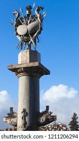 Rostral column of the Fontana della dea di Roma, Rome, Italy