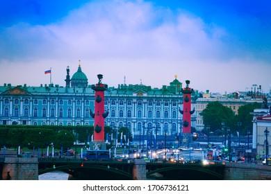 Rostralnaya Kolonna or column on Neva river over Winter Palace, Zimnij dvorets in Saint Petersburg, Russia - Shutterstock ID 1706736121