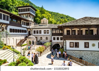 Rostusha, North Macedonia - July 27, 2019. Area of Bigorski Monastery in summer