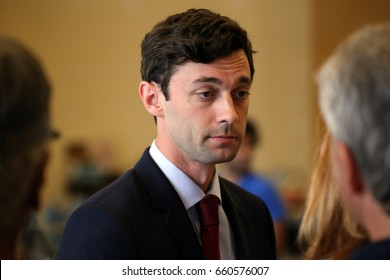 ROSWELL, GA - JUNE 14: Jon Ossoff speaks to reporters and staff at a campaign office in Roswell, Georgia on June 14th, 2017. Jon Ossoff is a candidate for US Congress running in a special election.