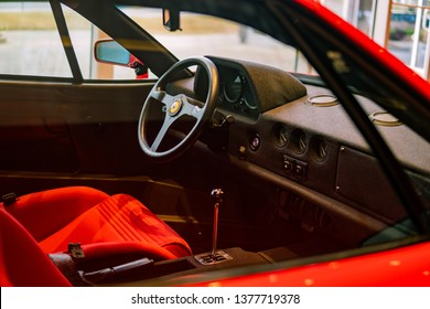 Roswell, Georgia/ USA - April 5 2019: Inside of a Red Ferrari F40 Interior