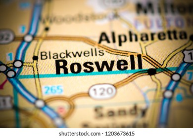Roswell. Georgia. USA on a map