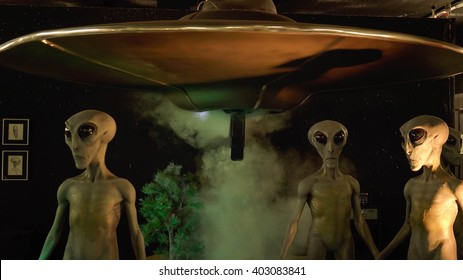 ROSWELL, NEW MEXICO - MARCH 28: Aliens and their spaceship on display at the International UFO Museum and Research Center in Roswell, New Mexico on March 28th, 2016.