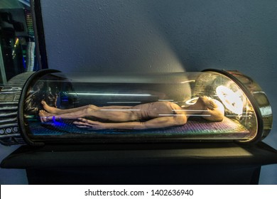 Roswell, New Mexico, USA - April 28, 2019: Extraterrestrial alien in an experimental laboratory at the UFO Museum and Research Center in Roswell.