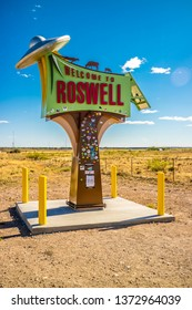 Roswell, NM, USA - April 21, 2018: A welcoming signboard at the entry point of the town