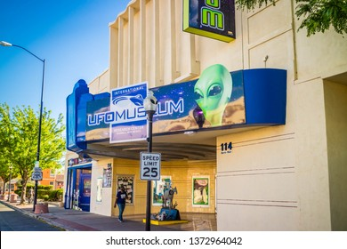 Roswell, NM, USA - April 21, 2018: The famous international collections of UFO model inside the museum