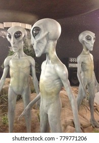 Roswell, NM / USA - Nov 29 2015: Facsimile aliens at the International UFO Museum and Research Center in Roswell, NM.