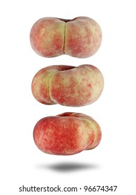 Rosy colored fresh Apricot fruit isolated against white. The fruit is scientifically known as Prunus Armeniaca.