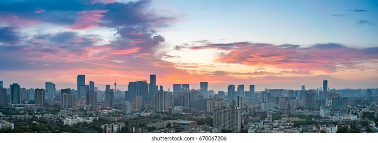 rosy dawn in chengdu