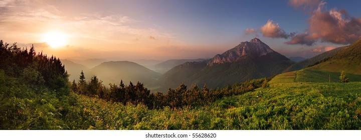 Roszutec peak in sunset - Slovakia mountain Fatra