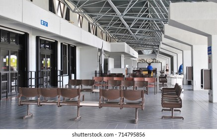 ROTA, CNMI, USA—OCTOBER 2015: Arrival area of the Rota International Airport  in the Northern Mariana Islands.