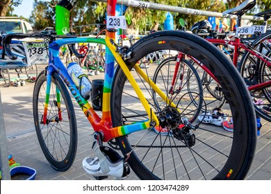 ROTA, SPAIN - SEPT 04: Bicycles of the  participants of the  XXI triathlon Herbalife Villa de Rota on September 04 , 2016, in Rota , Spain