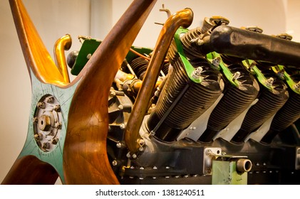Rotary Engine, Classic aircraft engine and wooden propeller. Retro travel technology.