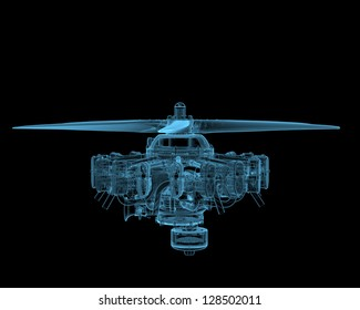 Rotary engine with propeller (3D x-ray blue transparent isolated on black)