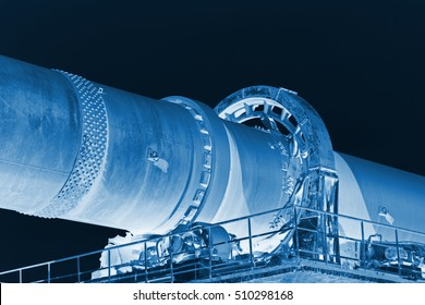 Rotary kiln equipment in a cement plant, closeup of photo