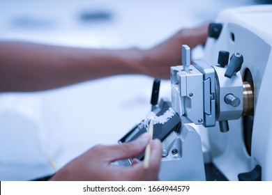 Rotary Microtome Section for diagnosis in pathology make microscope slide histology. Human tissue equipment