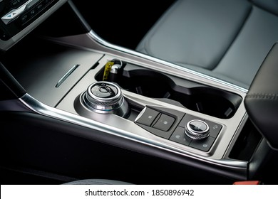 Rotary shift dial and center console in a new vehicle