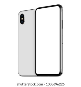 Rotated frameless smartphone mockup front side with blank white screen and back side with dual camera module. Isolated on white background. 3D illustration.