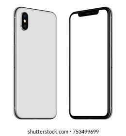 Rotated frameless smartphone mockup front and back side facing each other. Blank white screen for your design. Isolated on white background. 3D illustration.